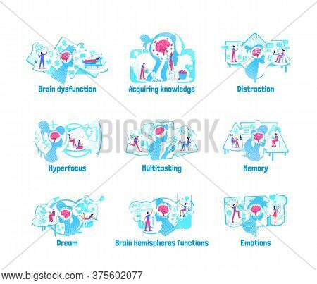 Mindset Processes Flat Concept Vector Illustration Set. Brain Ability Of Process Data And Informatio