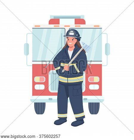 Woman Firefighter Flat Color Vector Detailed Character. Gender Equality At Workplace. Female Fireman