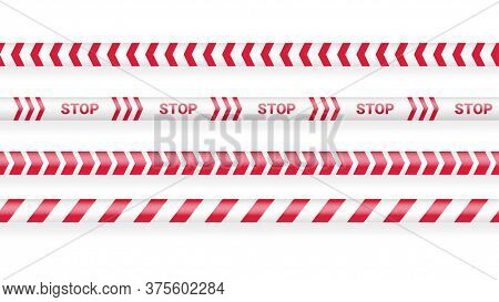 Red Police Tape, Crime Danger Line. Caution Police Lines Isolated. Warning Tapes. Set Of Red Warning