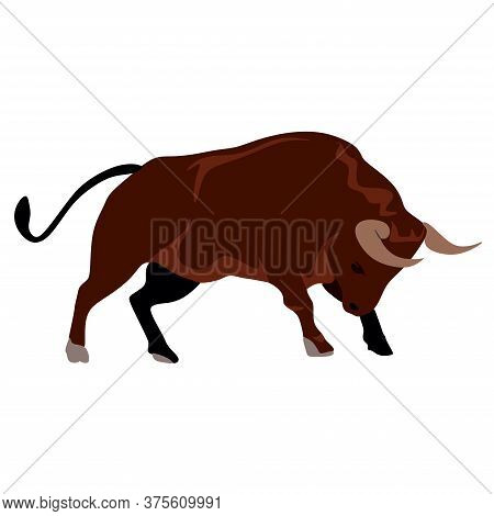 The Drawing Shows An Angry Brown Bull. The Wild Beast Has Big Horns And A Strong Body, It Is Angry A