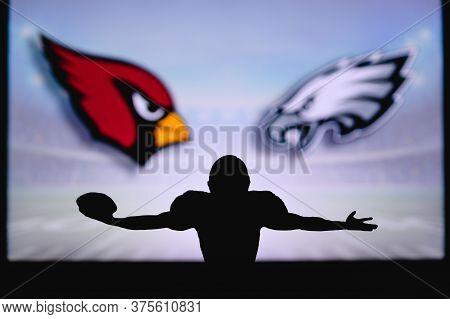 Arizona Cardinals Vs. Philadelphia Eagles. Nfl Game. American Football League Match. Silhouette Of P
