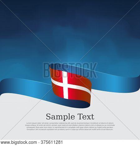 Denmark Flag Background. Danish National Poster. Denmark Flag With Wavy Ribbon On A Blue White Backg