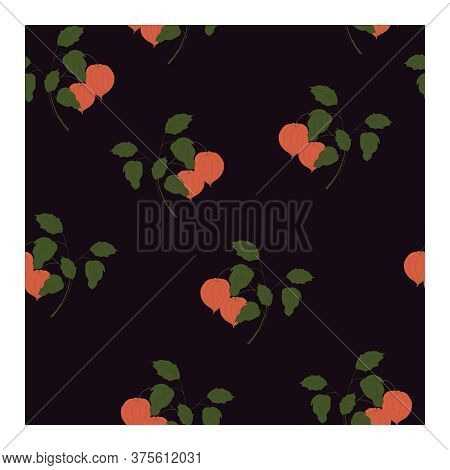 Seamless Pattern With Red-brown Physalis Flowers On Branches With Green Leaves And A Dark Brown Back
