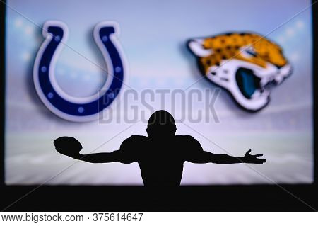 Indianapolis Colts Vs. Jacksonville Jaguars. Nfl Game. American Football League Match. Silhouette Of