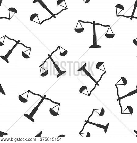 Scale Balance Icon In Flat Style. Justice Vector Illustration On White Isolated Background. Judgment