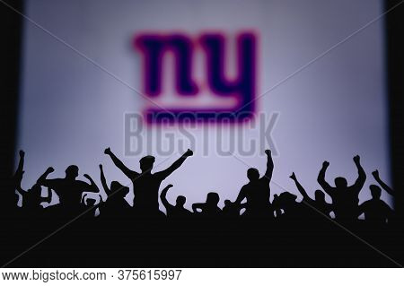 New York Giants. Fans Support Professional Team Of American National Foorball League. Silhouette Of