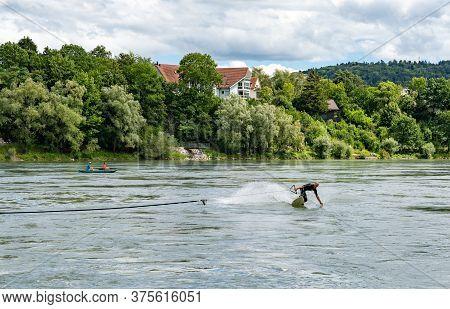 Surfer Bungee Surfing On The Rhine River In Bad Saeckingen