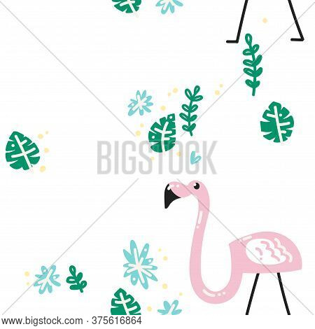 Tropical Pattern. Pattern With Flamingos, Monstera Leaves And Blue Tropical Flowers. Vector Image, C