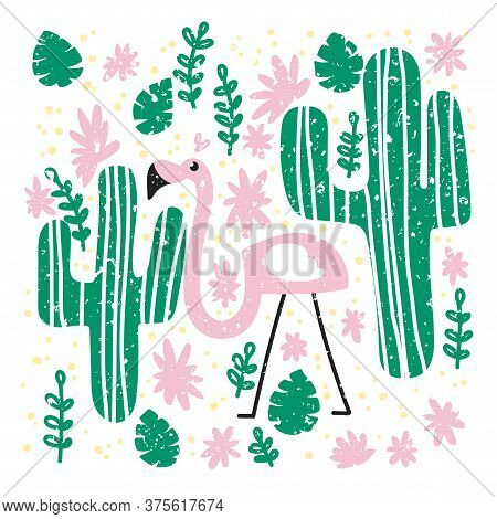 Tropical Pattern. A Lone Flamingo Near A Pair Of Cacti, Flowers And Leaves Of A Monstera. Simple Sum