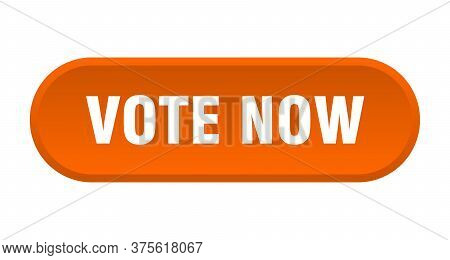 Vote Now Button. Vote Now Rounded Orange Sign. Vote Now