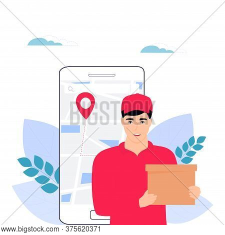 A Man Courier Delivers The Package To The Address. Online Food Order.