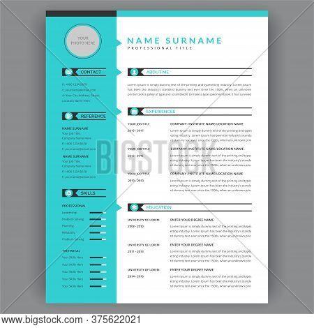 Stylish Cv / Resume Template. Minimal Elegant Design. Vector Minimalist - Blue And White Background