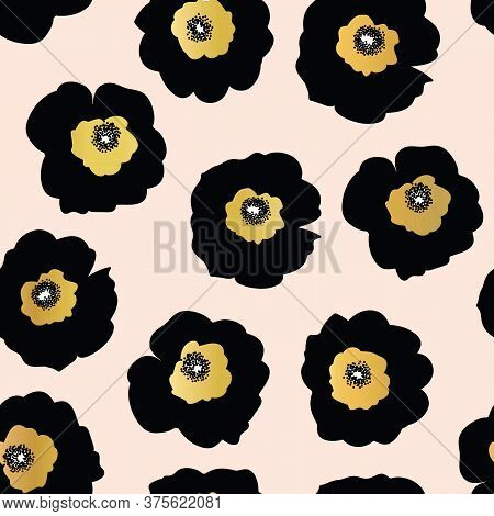 Repeating Vector Pattern Black And Golden Flowers On A Pink Background. Seamless Floral Pattern With