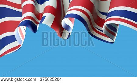 United Kingdom, Great Britain Flag On Blue Sky For Banner Design. Waving British Flag Isolated On Bl