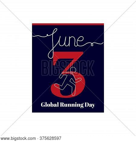 Calendar Sheet, Vector Illustration On The Theme Of Global Running Day. June 3. Decorated With A Han