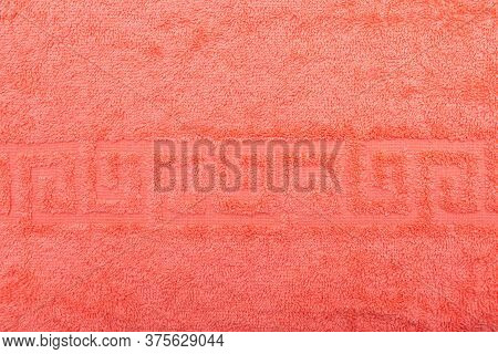 Terry Towel, Texture, Textile Background Close Up. Terry Peach Towel Background. Color Peach Terry T