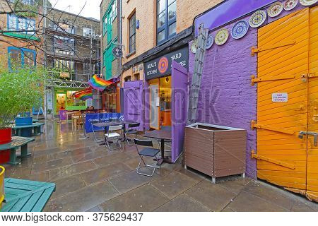 London, United Kingdom - January 28, 2013: Empty Neals Yard Passage Alley Near Covent Garden In Lond