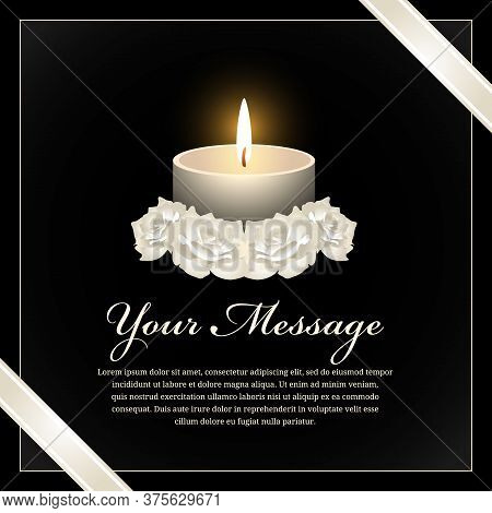 Funeral Banner With Candle Light And White Rose On Black Background Vector Design