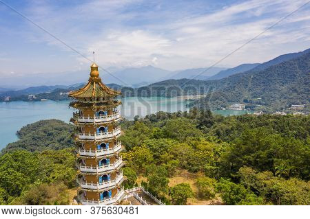 Aerial view of Ci En Pagoda at Sun Moon Lake in Nantou, Taiwan