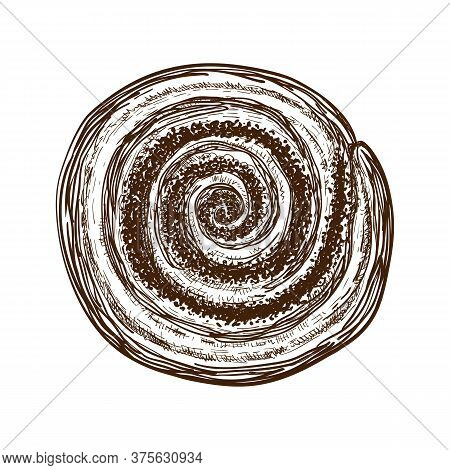 Hand Drawn Sweet Bun Or Roll With Cinnamon Or Filled With Poppy Seeds. Pastry Sketch. Vector Illustr