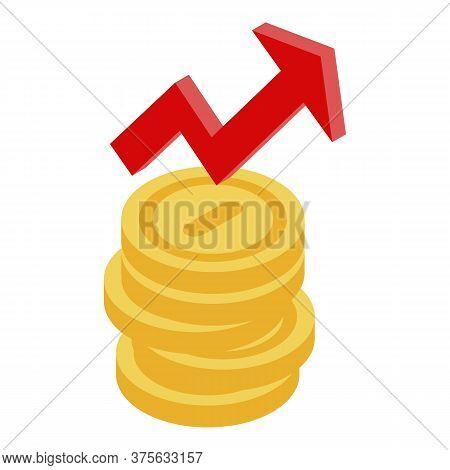 Grow Up Money Coin Icon. Isometric Of Grow Up Money Coin Vector Icon For Web Design Isolated On Whit