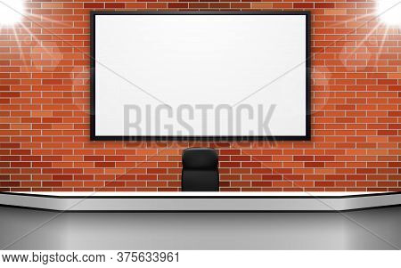 White Table With Lcd On The Brick Wall In The News Studio Room