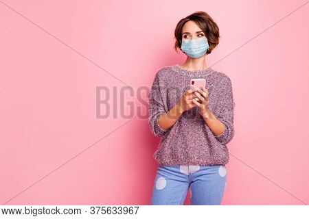 Portrait Of Her She Nice Pretty Girl Wearing Safety Gauze Mask Using Device Searching Flu High Fever