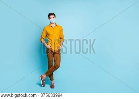 Full Length Body Size View Of His He Nice Attractive Healthy Guy Wearing Safety Gauze Mask Stop Flue