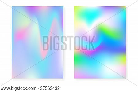 Hologram Gradient Background Set With Holographic Cover. 90s, 80s Retro Style. Iridescent Graphic Te