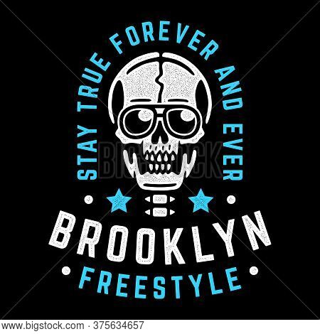 Vintage White Skull. Retro Print For T-shirt. Brooklyn Freestyle.