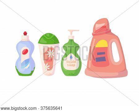 Set With Detergents. Gel For Washing Dishes, Body Gel, Liquid Soap, Liquid Powder. Vector Cartoon Fl