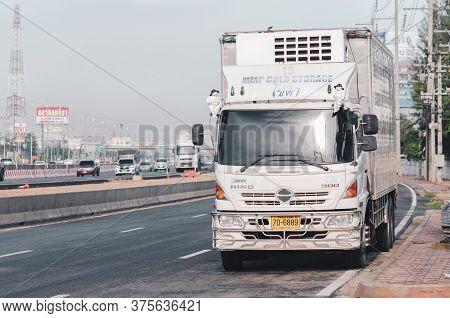 Samut Sakhon, Thailand - May 2020: A Large Frozen Seafood Truck Was Parked On Rama 2 Road On May 31,