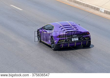 Samut Sakhon, Thailand - May 2020:  Stop-motion Image, Automobili Purple Lamborghini Ranning On Phut