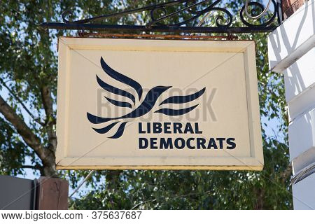 The Liberal Democrats Logo Hanging From An Office In Stratford Upon Avon In Warwickshire In The Uk,