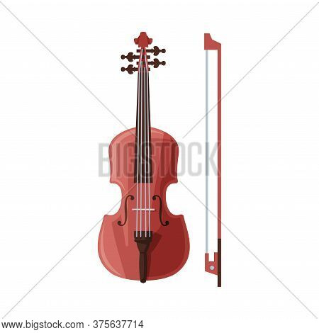 Violin And Bow Classical String Musical Instrument Flat Vector Illustration On White Background