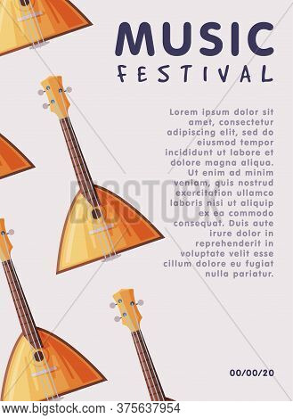 Music Festival Banner With Balalaika Traditional Russian String Musical Instrument And Place For Tex