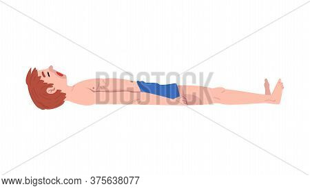 Drowned Person, Young Unconscious Man In Shorts Lying On The Ground Vector Illustration