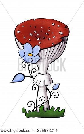 Illustration Of Redcap Fly Agaric With Blue Flower On Green Grass. Hand-drawn Poisonous Mushroom Wit