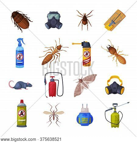 Extermination Of Insects Equipment Set, Professional Pest Control Service Vector Illustration On Whi