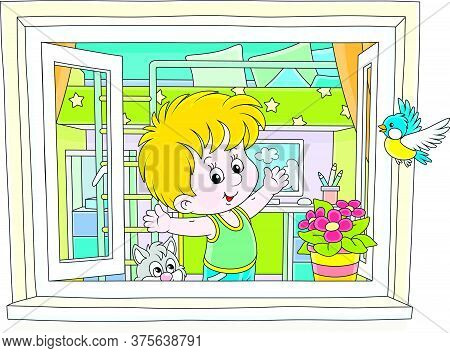 Little Boy Doing Gymnastic Exercises By An Open Window In His Nursery Room On A Warm Morning, Vector