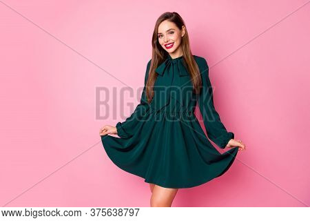 Photo Of Charming Chic Lady Cheerful Good Mood Ready Look For Students Event Festive Party Prom Show