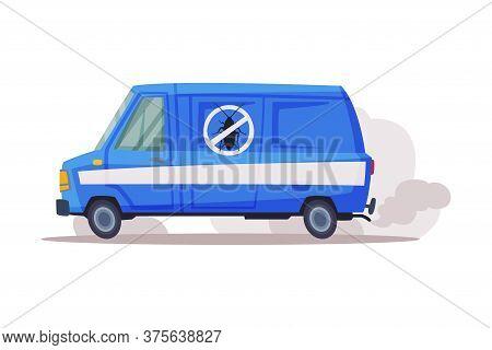 Pest Control Service Van, Exterminator Blue Truck Vector Illustration On White Background