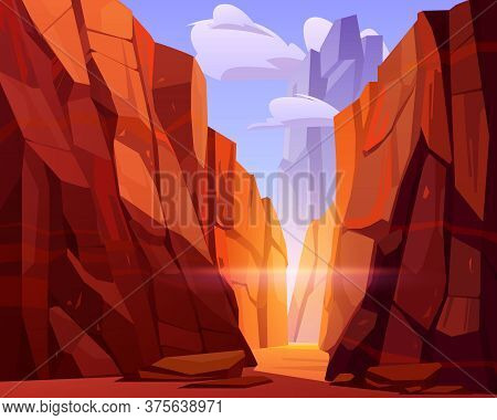 Desert Road In Canyon With Red Mountains. Vector Cartoon Landscape Of Nature Park, Ground Road In Go