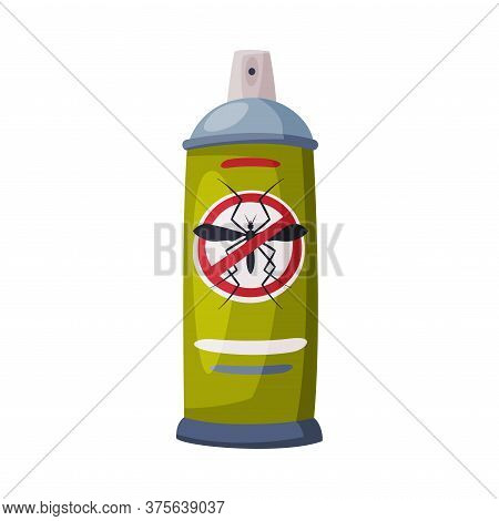Spray Can Of Mosquito Insecticide, Pest Control And Extermination Concept Vector Illustration On Whi