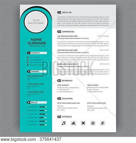 Cv Templates. Personal Minimalism Description Profile Vector. Stylish Modern Minimal Job Interview D