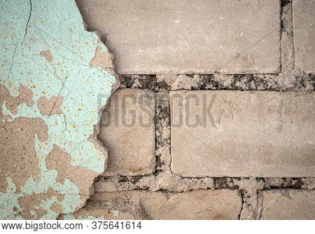 Old Concrete Stucco On Brick Wall Texture. Background