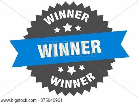 Winner Sign. Winner Blue-black Circular Band Label