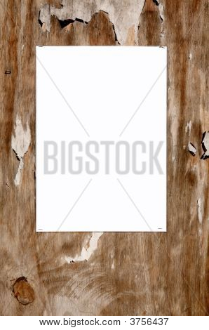 Laminated Blank White Paper Stuck On An Old Weathered Tatty Outside Noticeboard.