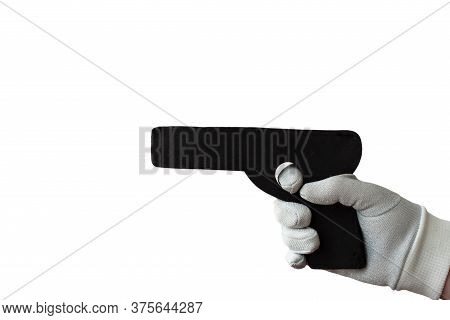 A Gray Gloved Hand Holds A Dummy Pistol For Self Defense Training