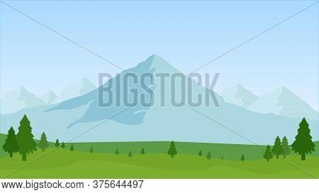 Summer Landscape Of The Foothills, Vector Art Illustration.